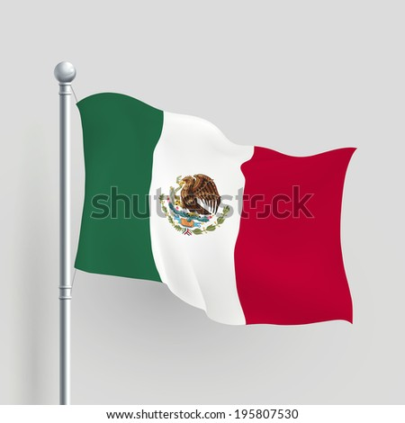 3d Mexico flag blowing in a breeze