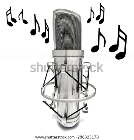 3D microphone and music notes on white background - stock photo