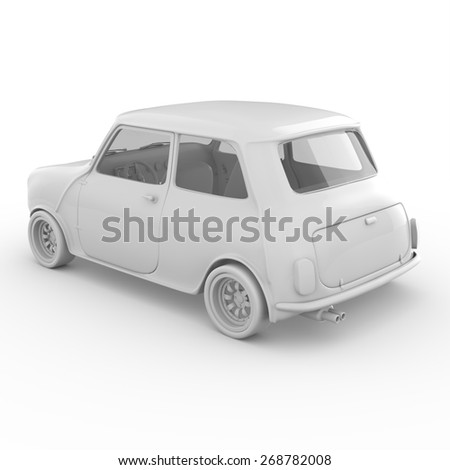 3d mini car isolated on white background