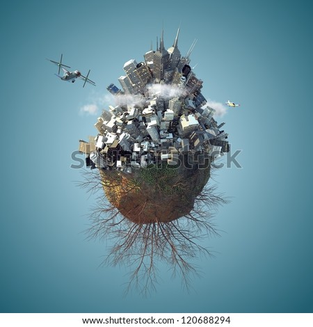 3d Mini planet as concept for chaotic urban life with full of buildings day time - stock photo