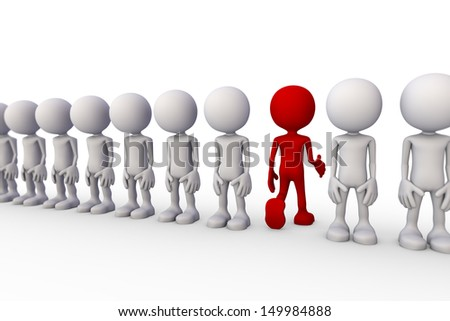 3d minimalistic people - stepping out of line - stock photo