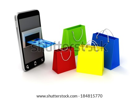 3d mobile phone and credit card, online shopping concept - stock photo