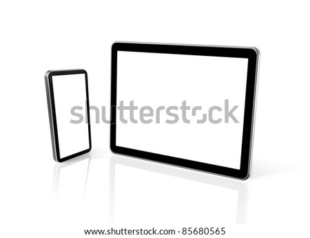 3D mobile phone and digital tablet pc computer isolated on white - stock photo