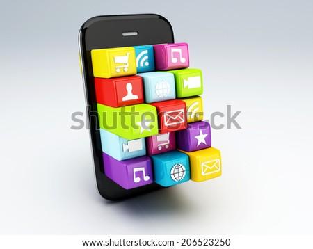 3d mobile phone app wifi - stock photo