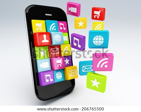 3d mobile phone application wifi. - stock photo