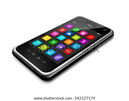 3D mobile phone, mobile phone with apps icons interface - isolated on white with clipping path - stock photo