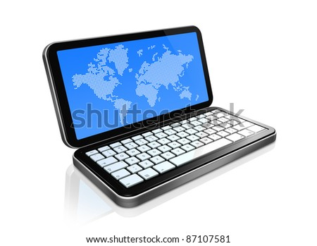 3D mobile phone, pda isolated on white with worldmap on screen. 2 clipping path : one for the phone and one for screen. - stock photo