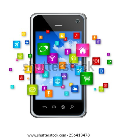 3D Mobile Phone with flying apps icons - isolated on white