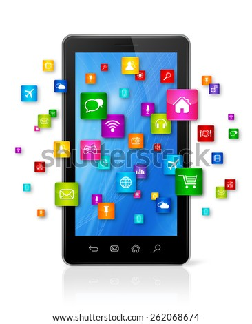 3D Mobile Phone with flying apps icons - isolated on white - stock photo
