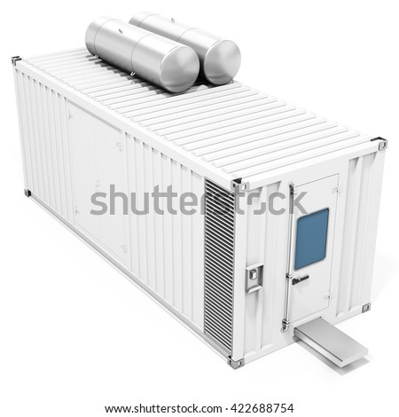 3d mobile power station container on white background 3D illustration - stock photo
