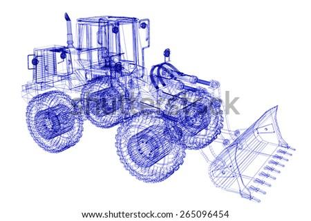 3d model bulldozer - stock photo