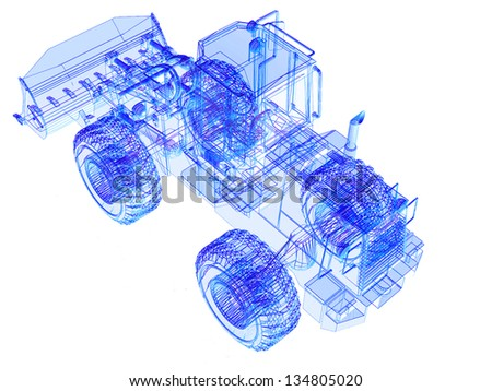 3d model bulldozer on white background - stock photo
