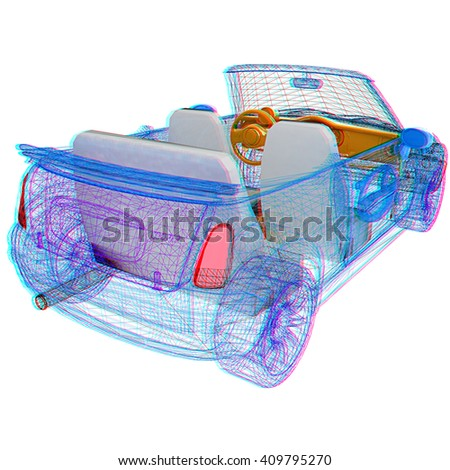 3d model cars . 3D illustration. Anaglyph. View with red/cyan glasses to see in 3D. - stock photo