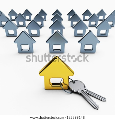 3d model gold house and key, 3d illustration on white background. - stock photo