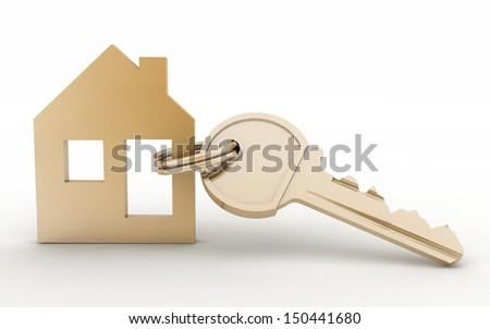 3d model hous symbol set with key - stock photo