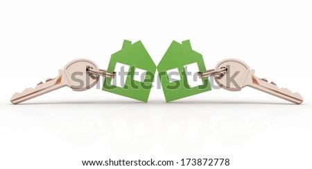 3d model house symbol set with keys - stock photo