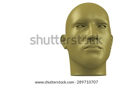 3d model of a humane head with yellow brown skin isolated on white. it is a man face with bold head staring at various angles looking strait.