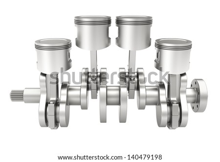 3d model of a piston crank mechanism of an internal combustion engine - stock photo