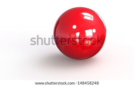 3D model of a red ball sphere isolated on white  - stock photo