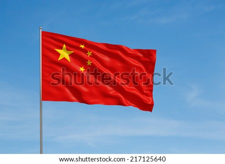 3d model of a waving Chinese flag. Blue sky background.