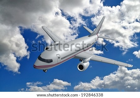 3d model of airplane in clouds - stock photo