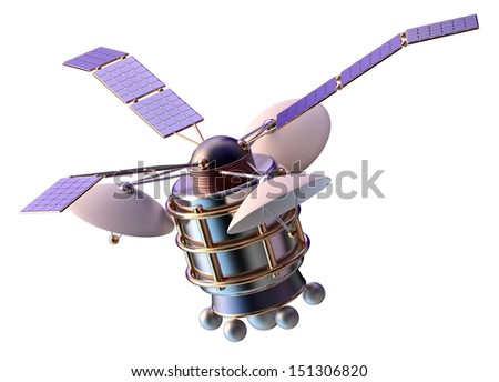 3D model of an artificial satellite of the Earth, equipped solar panels and parabolic satellite communications antenna - stock photo