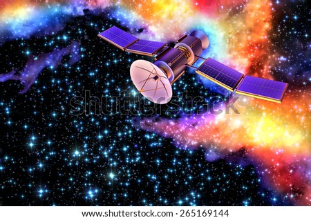 3D model of an artificial satellite of the Earth, equipped with solar panels and parabolic communication antenna against the old nebula's background - stock photo