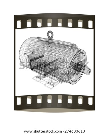 3d-model of an electric motor. The film strip