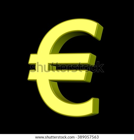 3D model of an euro currency sign made of gold, isolated on black.
