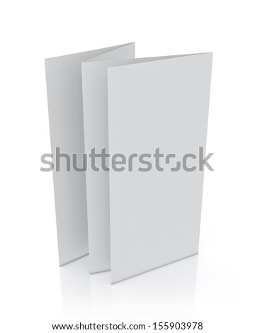 3d model of blank leaflet standing, isolated on white background - stock photo