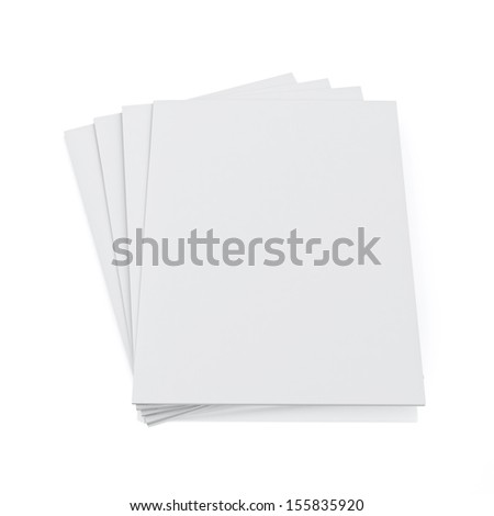 3d model of blank magazines isolated on white background - stock photo