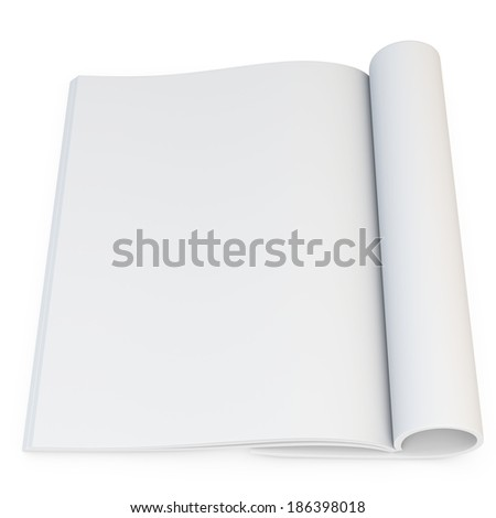 3d model of blank opened magazine on white background  - stock photo