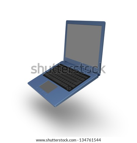 3D model of blue laptop with blank keyboard and simple design on white background