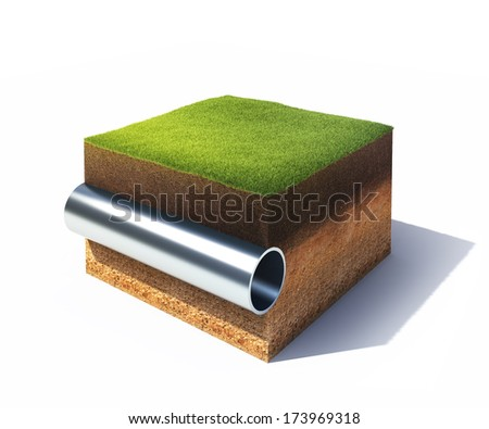3d model of cross section of ground with grass and steel pipe isolated on white - stock photo
