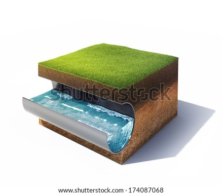 3d model of cross section of ground with grass and steel pipe with water isolated on white - stock photo