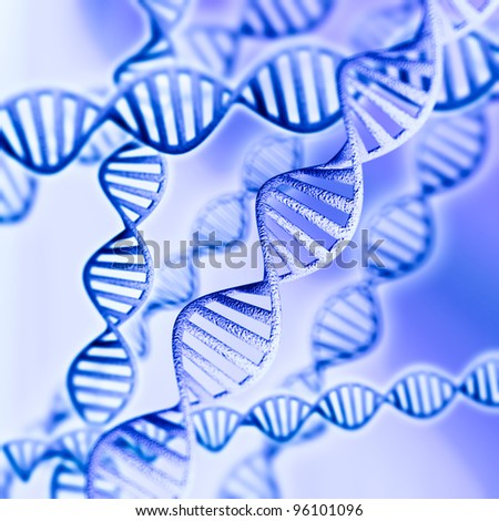 3d model of DNA on a blue background - stock photo