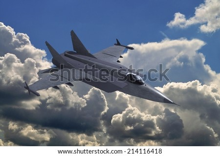 3d model of fighter in clouds - stock photo