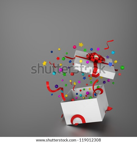 3D model of gift box and splashed decoration - stock photo