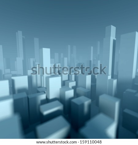 3d model of miniature city downtown, Architectural concept - stock photo