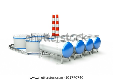 3d model of oil factory - stock photo