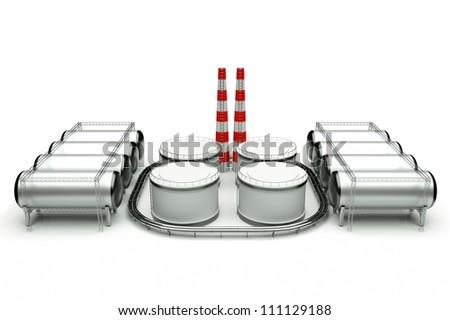 3d model of oil factory - stock photo