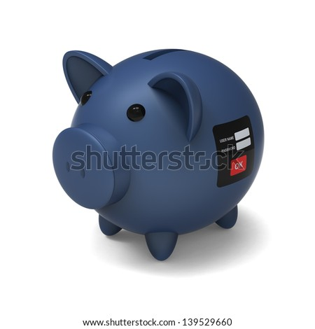 3D model of piggy bank with security system to against a withdrawing or removing money by stranger and stealer , on white background