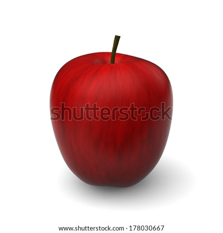3D model of red apple on white background