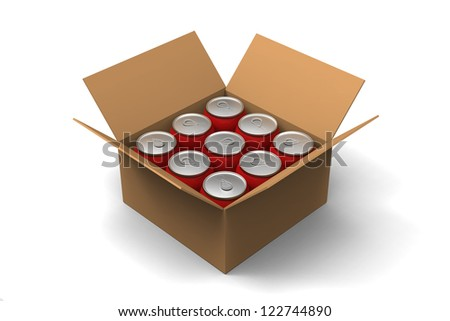 3D model of red cans in a brown box - stock photo