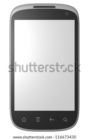 3d model of smart phone isolated on white. Front view.
