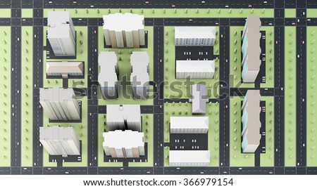 3d model of the area of the city top view. - stock photo