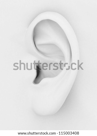 3d model of the ear on a gray background - stock photo