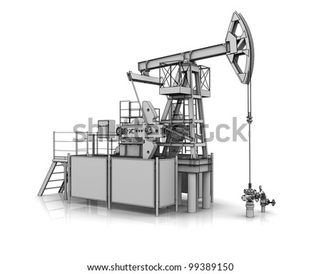 3D model of the oil pump jack - stock photo