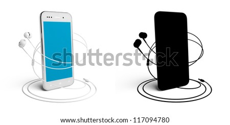 3D model of the smartphone and headphones, isolated on white, with the mask.  Color - white. Screen - clean. - stock photo