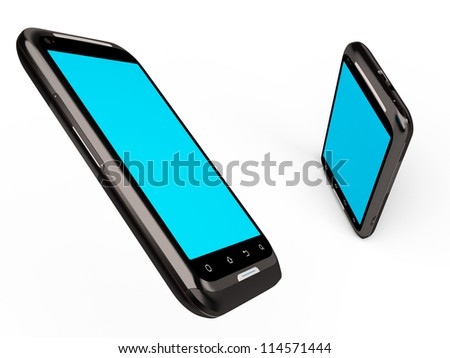 3D model of the smartphone isolated on the white - stock photo